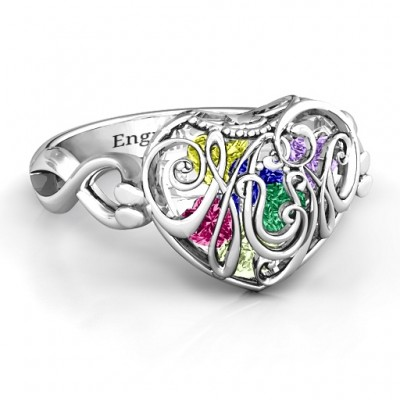 Mum heart Caged Hearts Ring with Infinity Band - By The Name Necklace;
