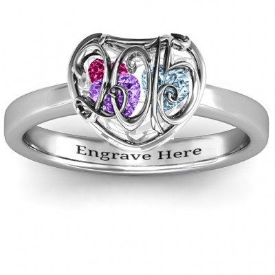 2015 Petite Caged Hearts Ring with Classic with Engravings Band With My Engraved