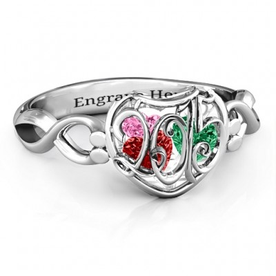 2015 Petite Caged Hearts Ring with Infinity Band - By The Name Necklace;