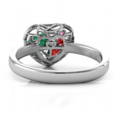 2016 Petite Caged Hearts Ring with Classic Band - By The Name Necklace;