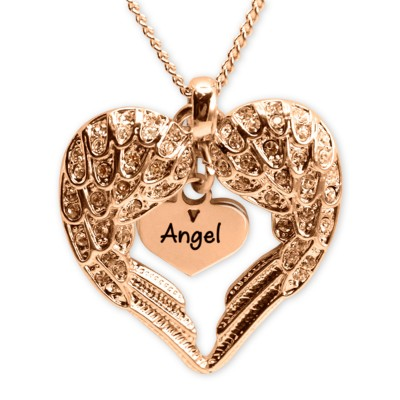 Personalised Angels Heart Necklace with Heart Insert - 18ct Rose Gold - By The Name Necklace;