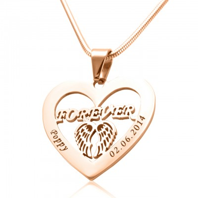 Personalised Angel in My Heart Necklace - 18ct Rose Gold Plated - By The Name Necklace;