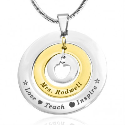 Personalised Circles of Love Necklace Teacher - TWO TONE - Gold  Silver - By The Name Necklace;