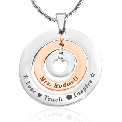 Personalised Circles of Love Necklace Teacher - TWO TONE - Rose Gold  Silver - By The Name Necklace;
