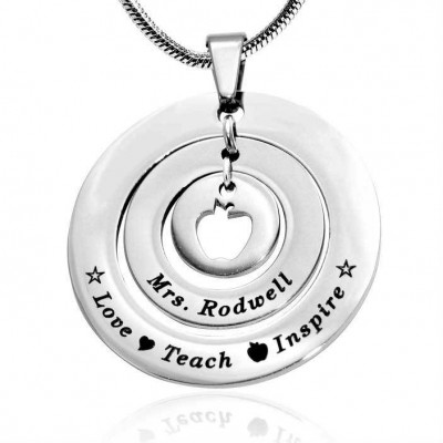 Personalised Circles of Love Necklace Teacher - Sterling Silver - By The Name Necklace;