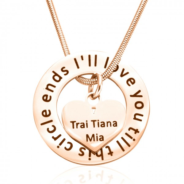 Personalised Circle My Heart Necklace - 18ct Rose Gold Plated - By The Name Necklace;