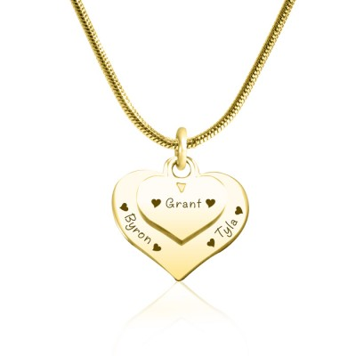 Personalised Double Heart Necklace - 18ct Gold Plated - By The Name Necklace;