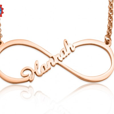 Personalised Single Infinity Name Necklace - 18ct Rose Gold Plated - By The Name Necklace;