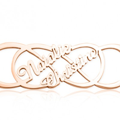 Personalised Infinity X Infinity Name Necklace - 18ct Rose Gold Plated - By The Name Necklace;