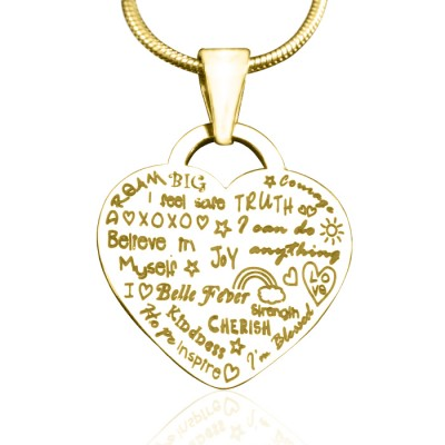 Personalised Heart of Hope Necklace - 18ct Gold Plated - By The Name Necklace;
