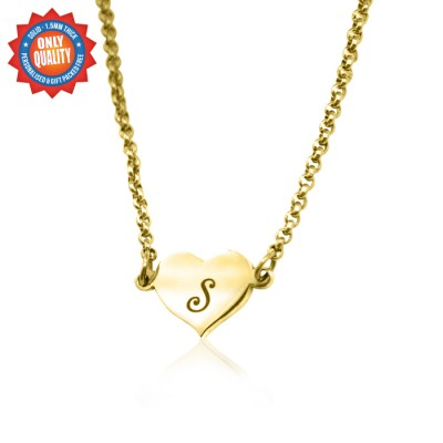 Personalised Precious Heart - 18ct Gold Plated - By The Name Necklace;