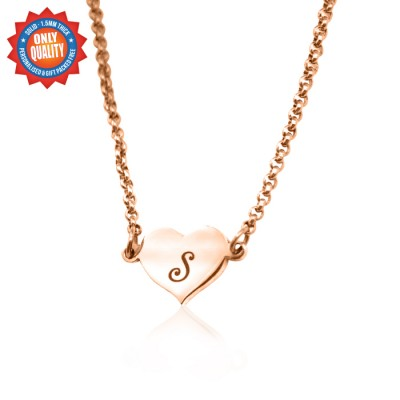 Personalised Precious Heart - 18ct Rose Gold Plated - By The Name Necklace;