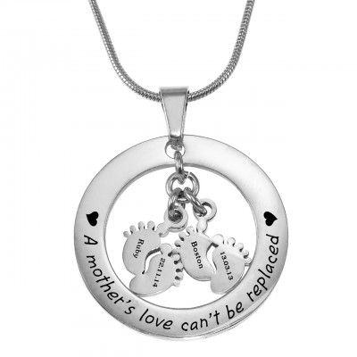Personalised Cant Be Replaced Necklace - Double Feet 12mm - By The Name Necklace;