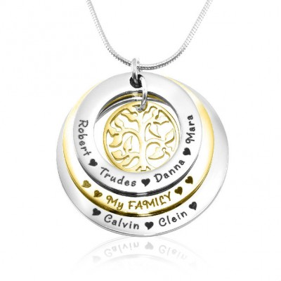 Personalised Family Triple Love - Two Tone - Gold n Silver - By The Name Necklace;
