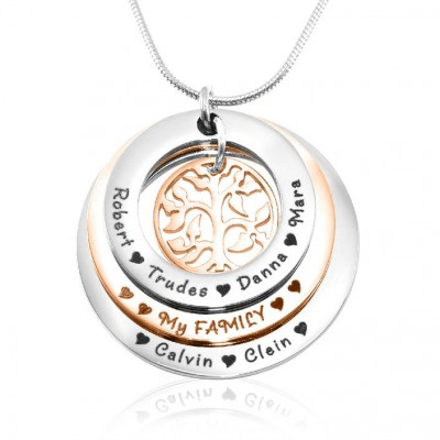 Personalised Family Triple Love - Two Tone - Rose Gold n Silver - By The Name Necklace;