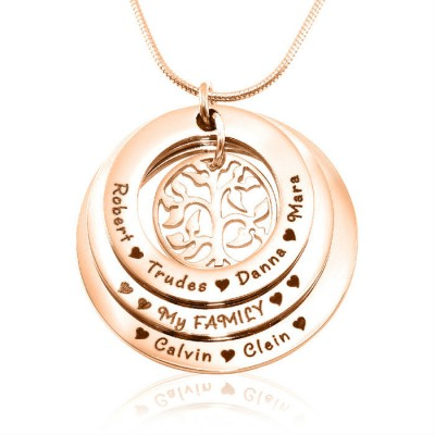 Personalised Family Triple Love - 18ct Rose Gold Plated - By The Name Necklace;
