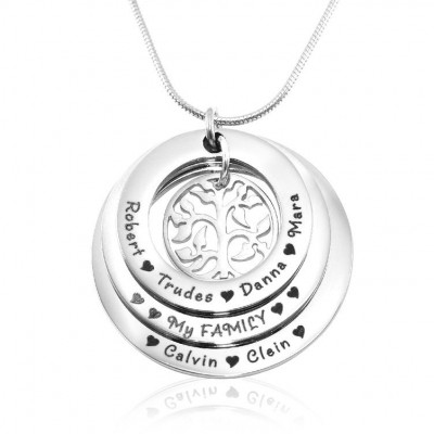 Personalised Family Triple Love - Sterling Silver - By The Name Necklace;