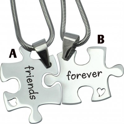 Personalised Forever Friends Puzzle Two Necklaces - By The Name Necklace;