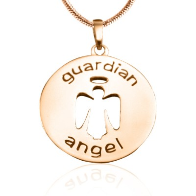 Personalised Guardian Angel Necklace 1 - 18ct Rose Gold Plated - By The Name Necklace;