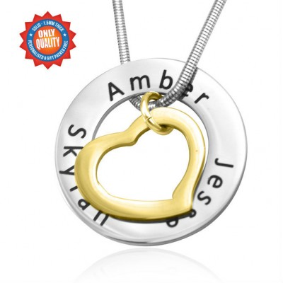 Personalised Heart Washer Necklace - TWO TONE - Gold  Silver - By The Name Necklace;