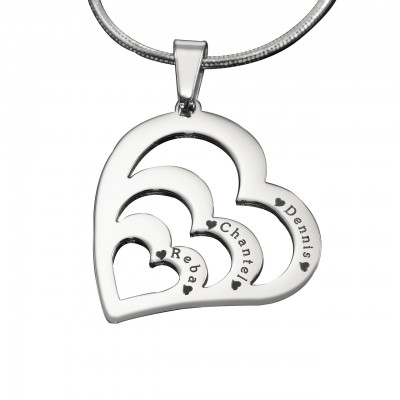 Personalised Hearts of Love Necklace - Sterling Silver - By The Name Necklace;