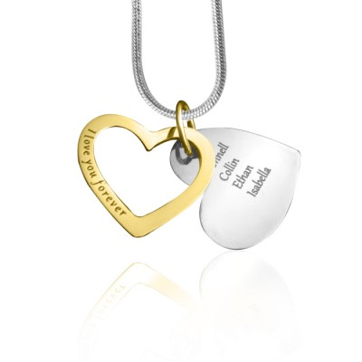 Personalised Love Forever Necklace - Two Tone - Gold  Silver - By The Name Necklace;