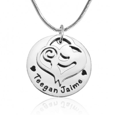 Personalised Mother's Disc Single Necklace - Sterling Silver - By The Name Necklace;