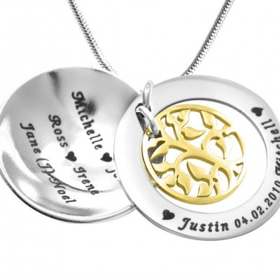 Personalised My Family Tree Dome Necklace - Two Tone - Gold Tree - By The Name Necklace;