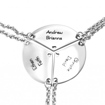 Personalised Meet at the Heart Triple - Three Personalised Necklaces - By The Name Necklace;