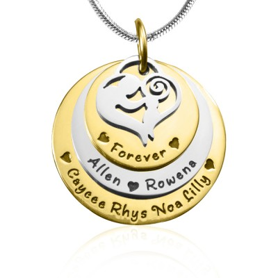 Personalised Mother's Disc Triple Necklace - TWO TONE - Gold  Silver - By The Name Necklace;