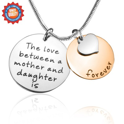 Personalised Mother Forever Necklace - Two Tone - Rose  Silver - By The Name Necklace;