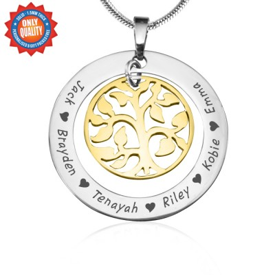 Personalised My Family Tree Necklace - Two Tone - Gold Tree - By The Name Necklace;
