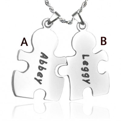 Personalised Puzzle Necklace - Sterling Silver - By The Name Necklace;