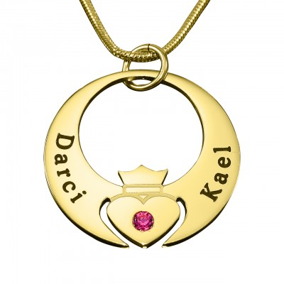 Personalised Queen of My Heart Necklace - 18ct Gold Plated - By The Name Necklace;
