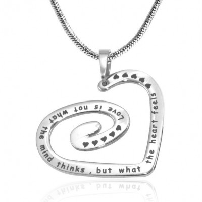 Personalised Swirls of My Heart Necklace - Sterling Silver - By The Name Necklace;