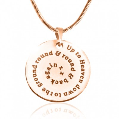 Personalised Swirls of Time Disc Necklace - 18ct Rose Gold Plated - By The Name Necklace;