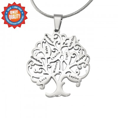 Personalised Tree of My Life Necklace 10 - Sterling Silver - By The Name Necklace;