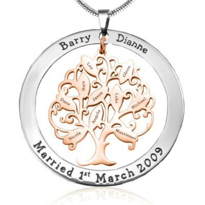 Personalised Tree of My Life Washer 10 - Two Tone - Rose Gold Tree - By The Name Necklace;