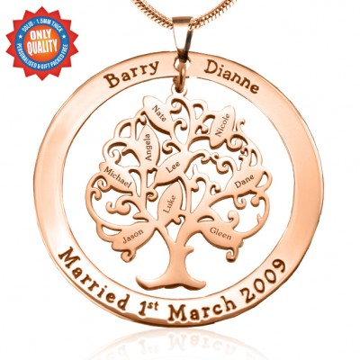 Personalised Tree of My Life Washer 9 - 18ct Rose Gold Plated - By The Name Necklace;