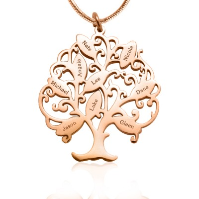 Personalised Tree of My Life Necklace 9 - 18ct Rose Gold Plated - By The Name Necklace;