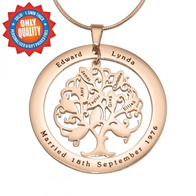 Personalised Tree of My Life Washer 10 - 18ct Rose Gold Plated - By The Name Necklace;