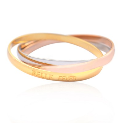Personalised Mother Daughter Three Tone Bangle Set - By The Name Necklace;