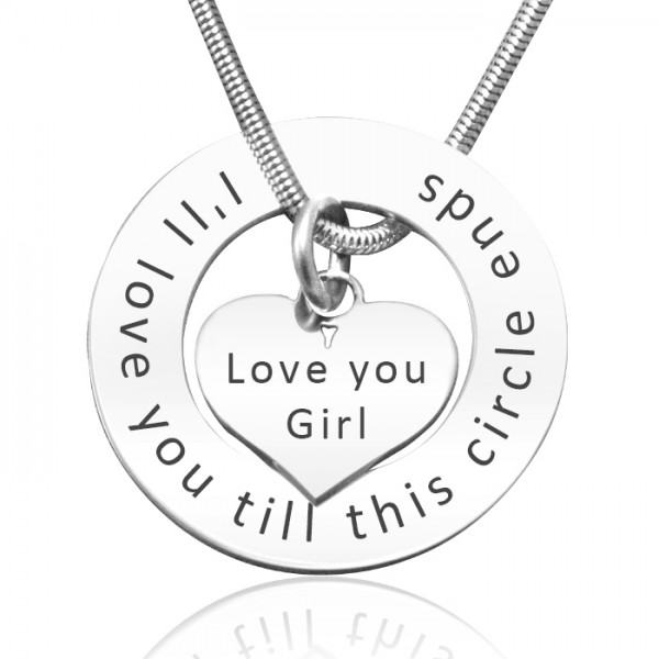 Personalised Circle My Heart Necklace - Sterling Silver - By The Name Necklace;