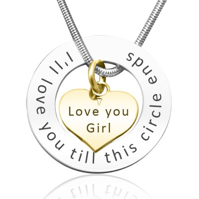 Personalised Circle My Heart Necklace - Two Tone HEART in Gold - By The Name Necklace;