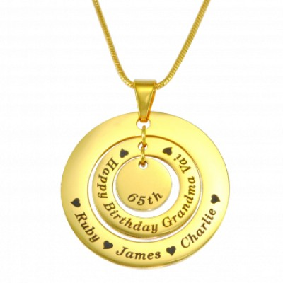 Personalised Circles of Love Necklace - 18ct GOLD Plated - By The Name Necklace;