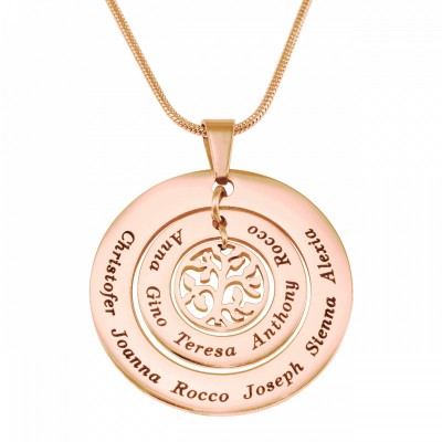 Personalised Circles of Love Necklace Tree - 18ct Rose Gold Plated - By The Name Necklace;