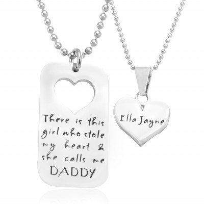 Personalised Dog Tag - Stolen Heart - Two Necklaces - Silver - By The Name Necklace;