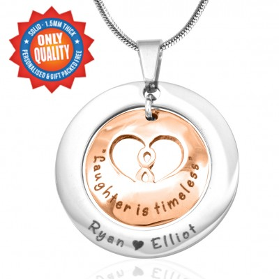 Personalised Infinity Dome Necklace - Two Tone - Rose Gold Dome  Silver - By The Name Necklace;