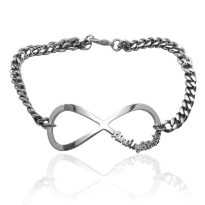 Personalised Infinity Name Bracelet/Anklet - Sterling Silver - By The Name Necklace;