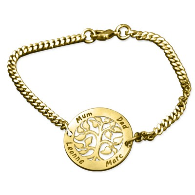 Personalised My Tree Bracelet - 18ct Gold Plated - By The Name Necklace;